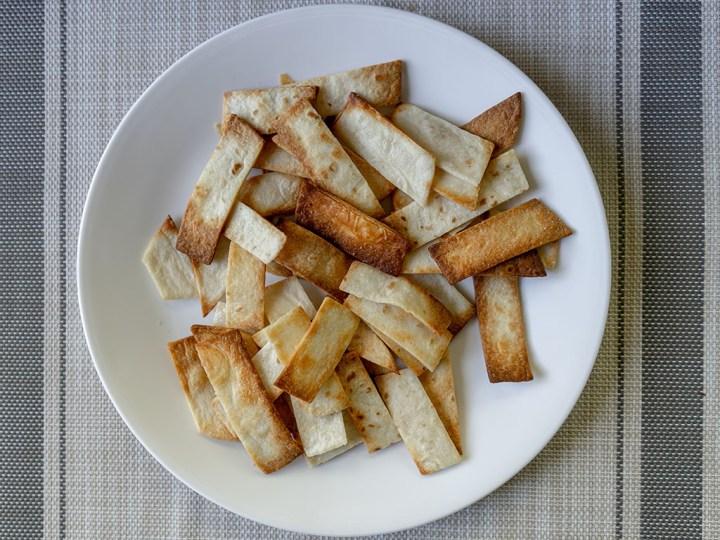 Air fried tortilla strips