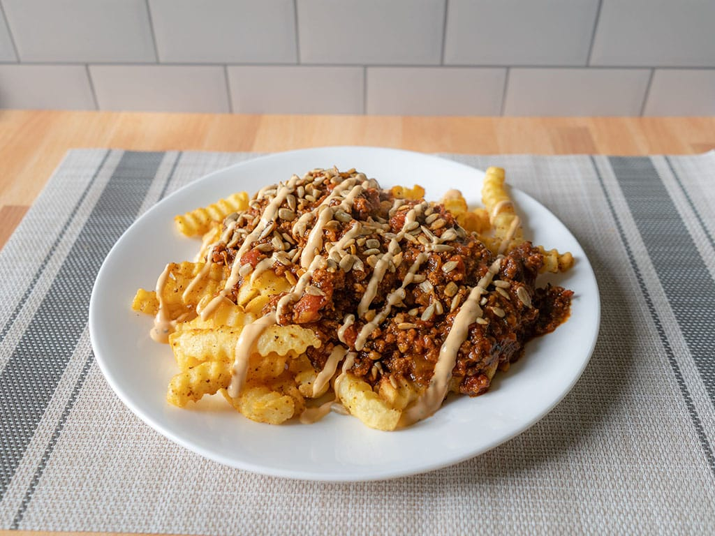 Ore-Ida air fried fries with beef chilli and tajin