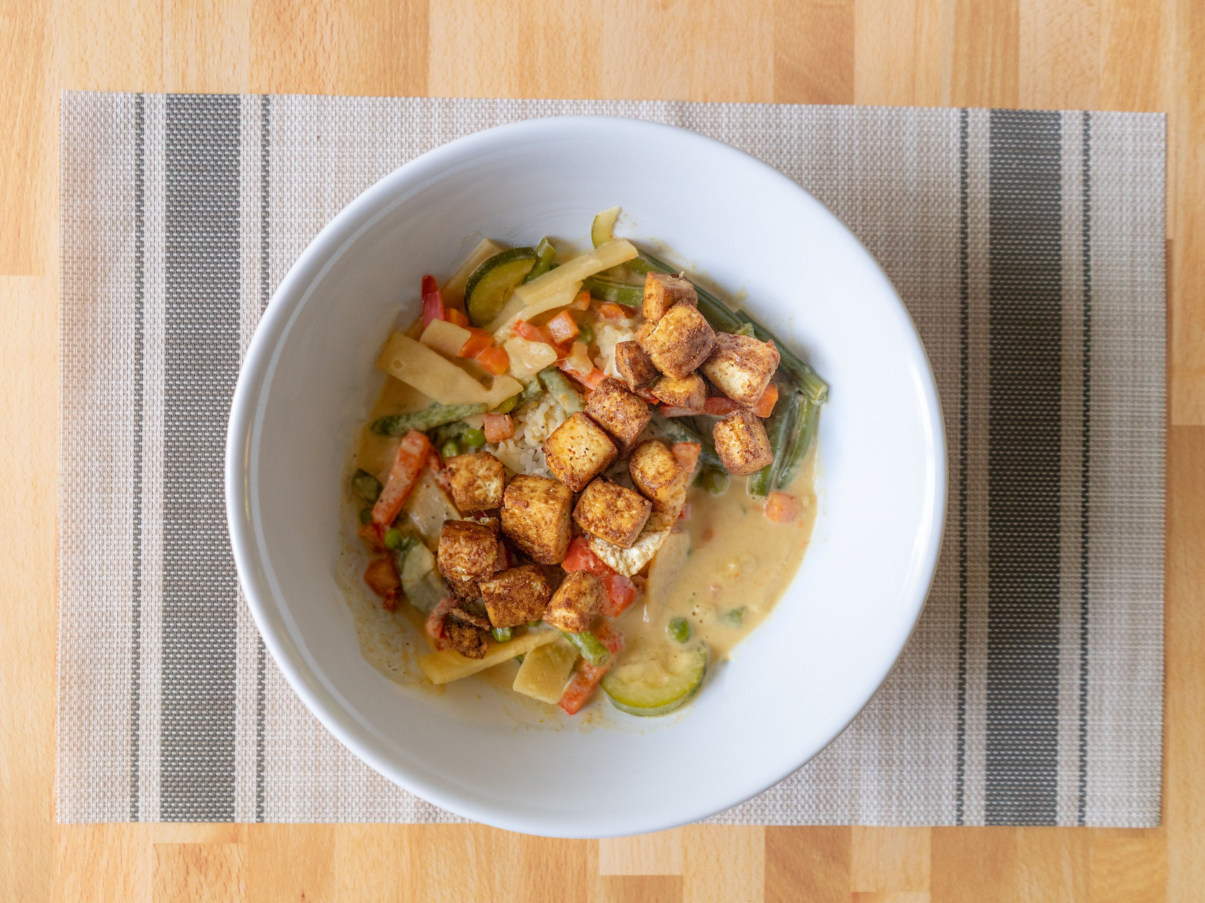 Air fried tofu with Thai yellow curry
