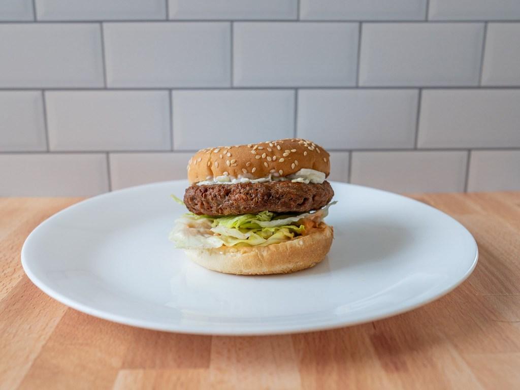 Beyond Burger 2020 reformulation air fried on bun