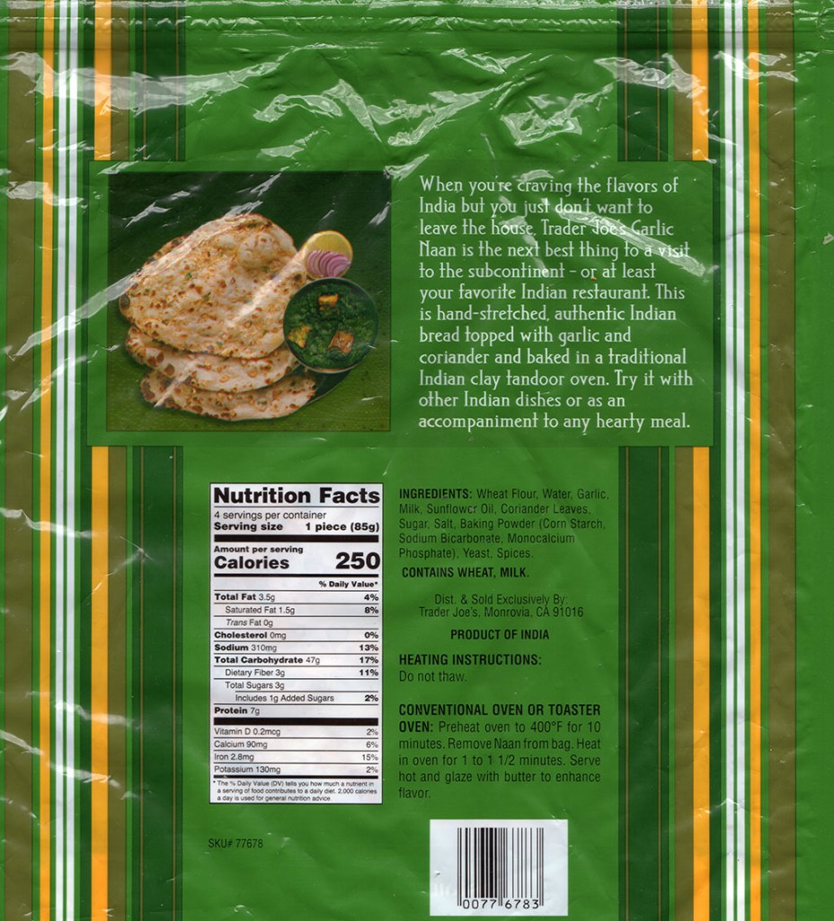 Trader Joe's Garlic Naan nutrition, ingredients and cooking instructions