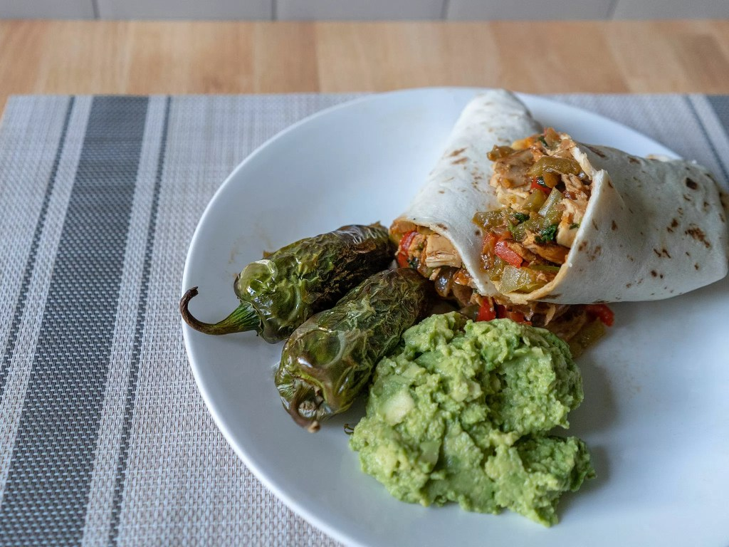 Air fried roasted and charred jalapenos with burrito