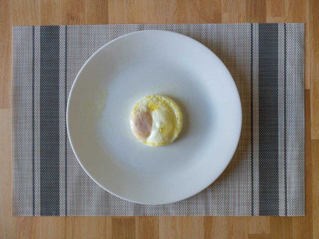 Air fried baked egg with runny yolk