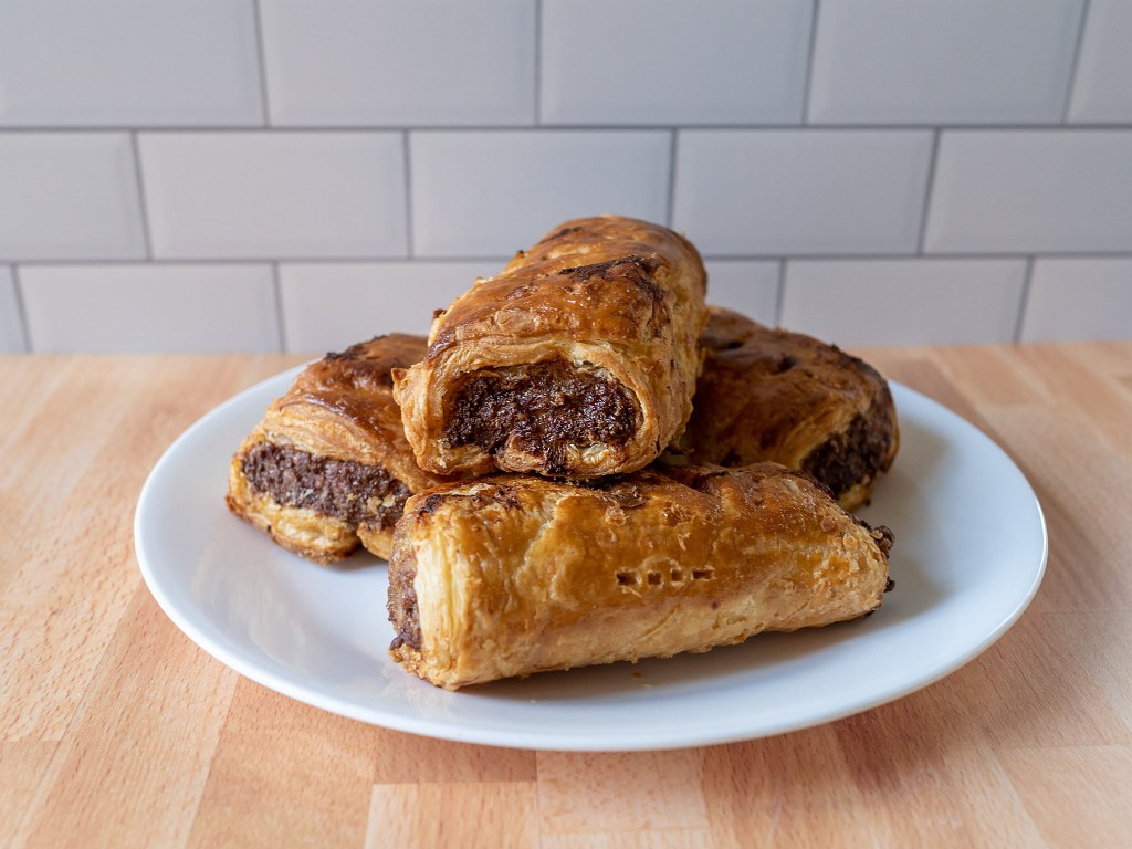 Air fried sausage rolls side view