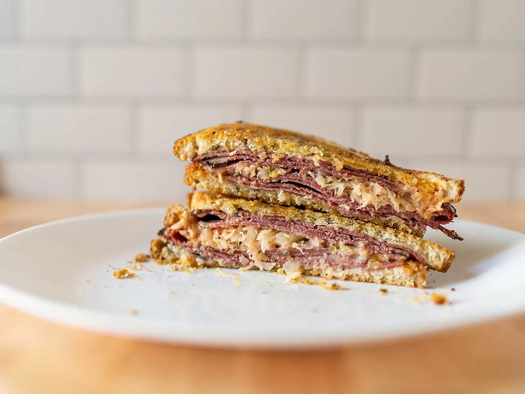 Reuben sandwich close up