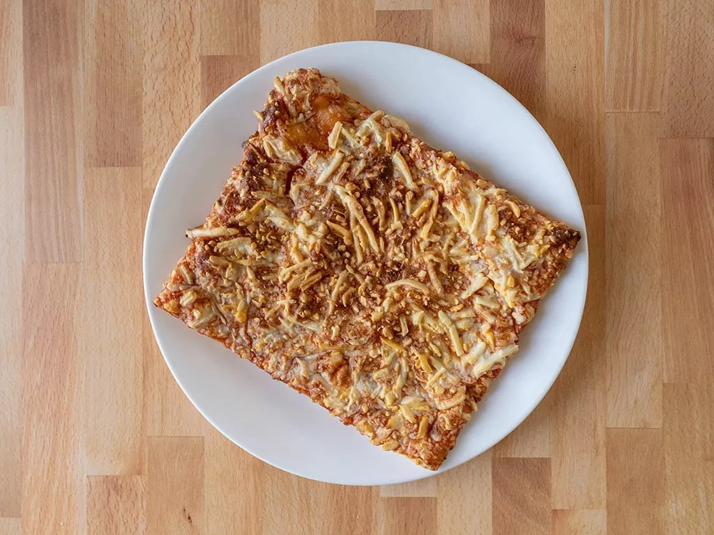 Air fried Totinos Triple Cheese Pizza