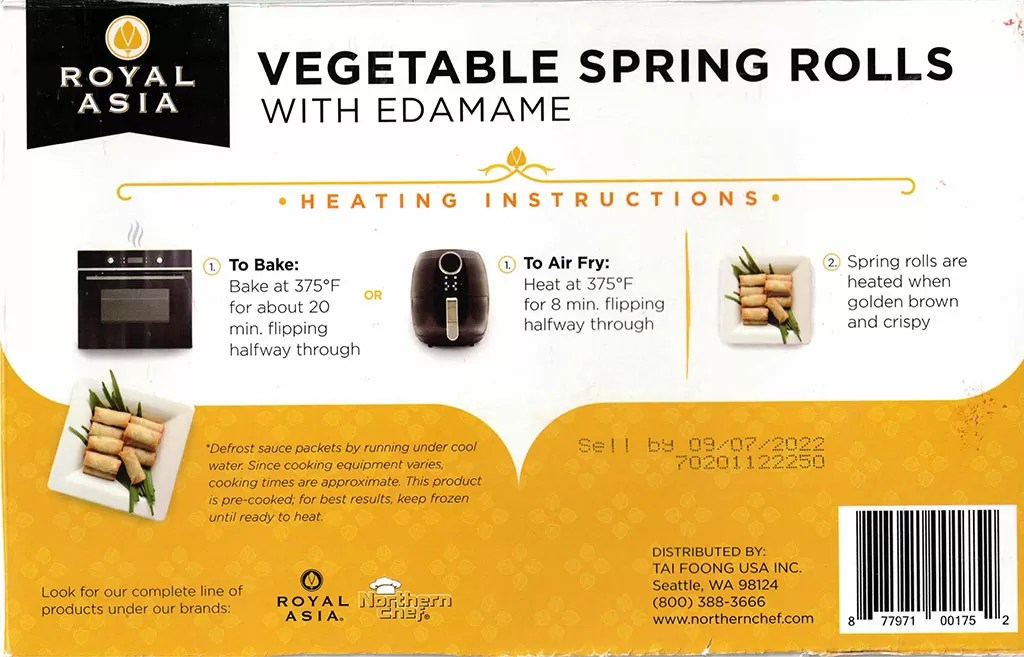 Royal Asia Vegetable Spring Rolls cooking instructions