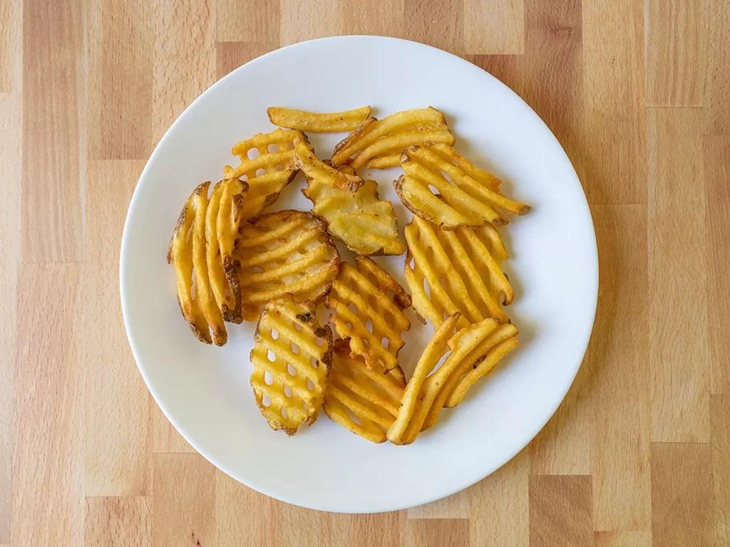 Air fried Ore-Ida Golden Waffle Fries