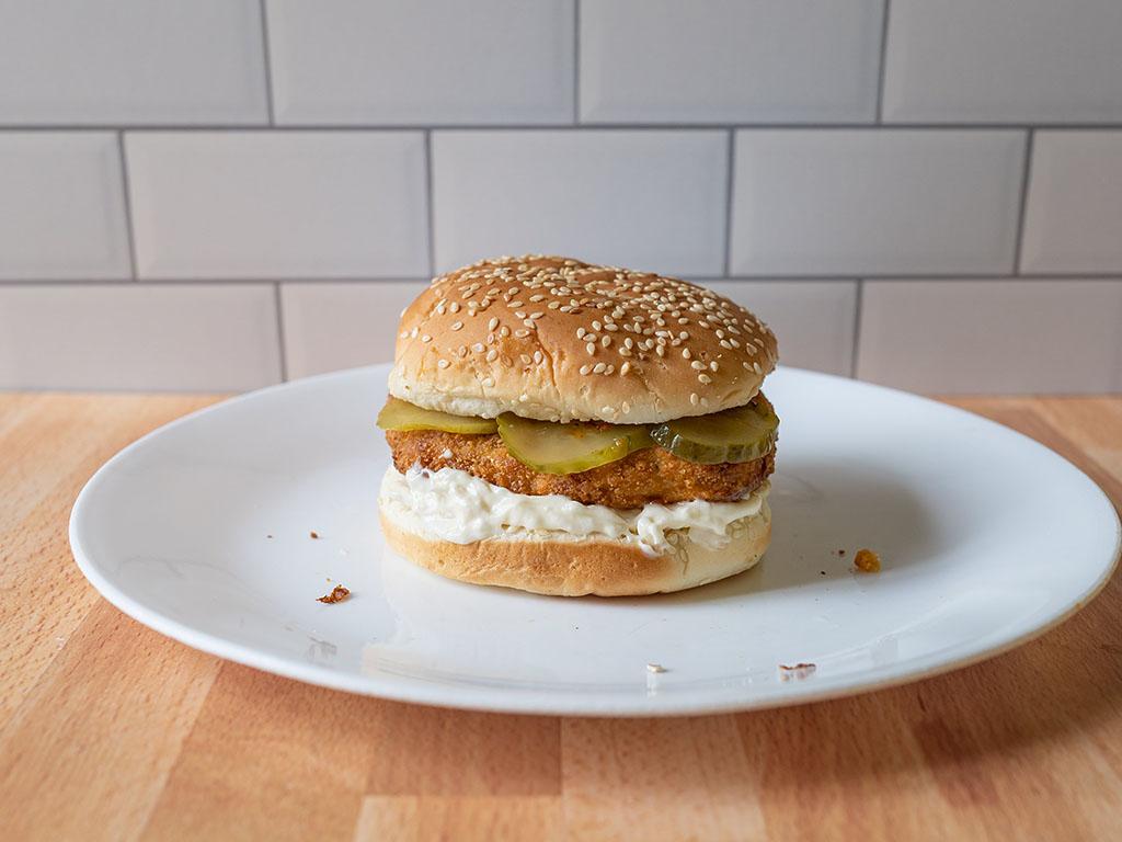 Air fried Gardein Ultimate Chick'N Filets on bun