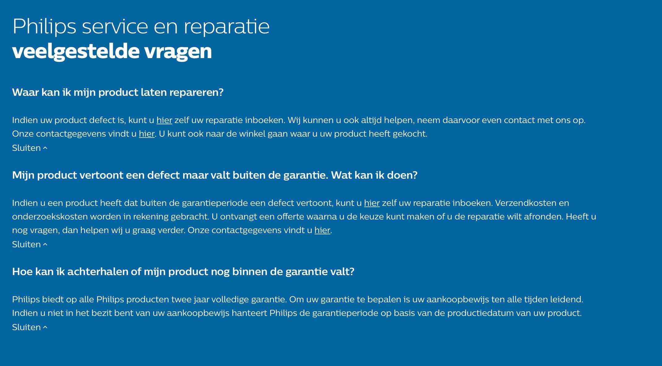 c3aafd3f78c277 Veel gestelde vragen over Philips service en reparatie. Vanuit Nederland  vindt je hier meer informatie.