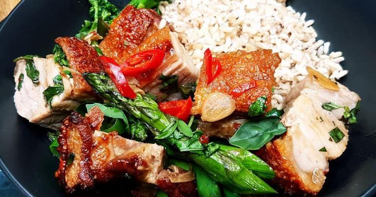 Crispy Chilli, Basil Pork with Asparagus, Broccolini & Rice
