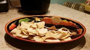 air frying tortilla chips plated salsa