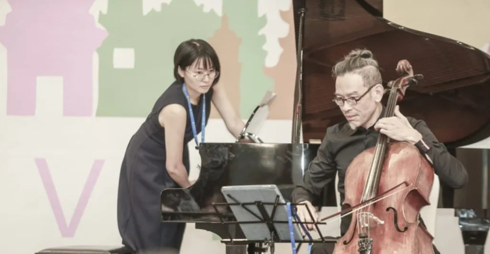 duo piano cello concert with leslie tan at SEALA 6 in Hanoi