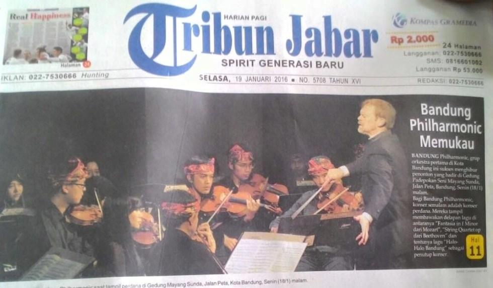 bandung philharmonic orchestra in tribun jabar newspaper january 2016