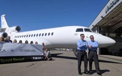 Dassault Falcon 8X Sets Transcontinental Speed Record