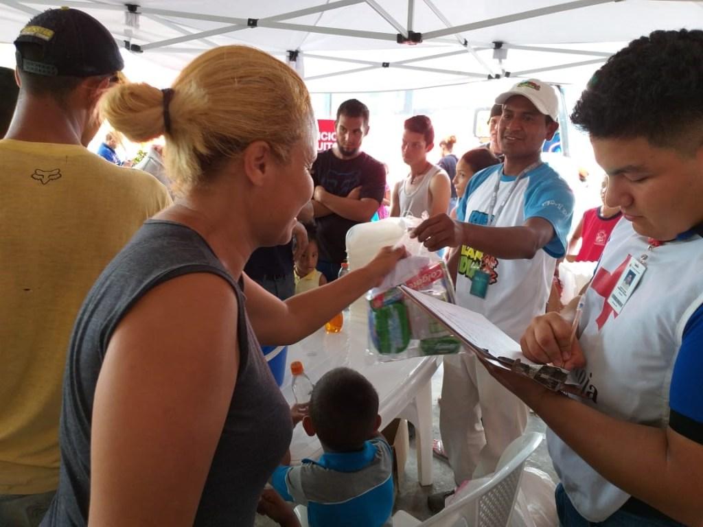 aid distribution for Venezuelan refugees in Ecuador.