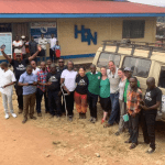 GoDocs team and local Congolese medical staff outside a health center.