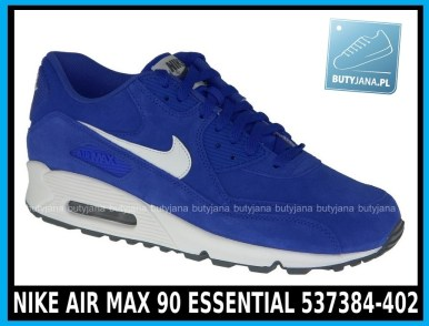 Niebieskie NIKE AIR MAX 90 ESSENTIAL 537384-402- HYPER BLUE - SAIL – SAIL – DARK GREY - cena 380 zł 1