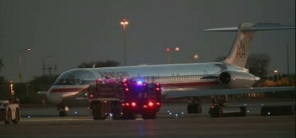 American Airlines MD-83 Jet on the Runway at Phoenix Sky Harbor Airport After its Gear Mishap
