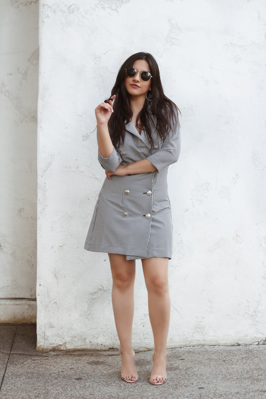 Little Mistress UK dogstooth blazer dress