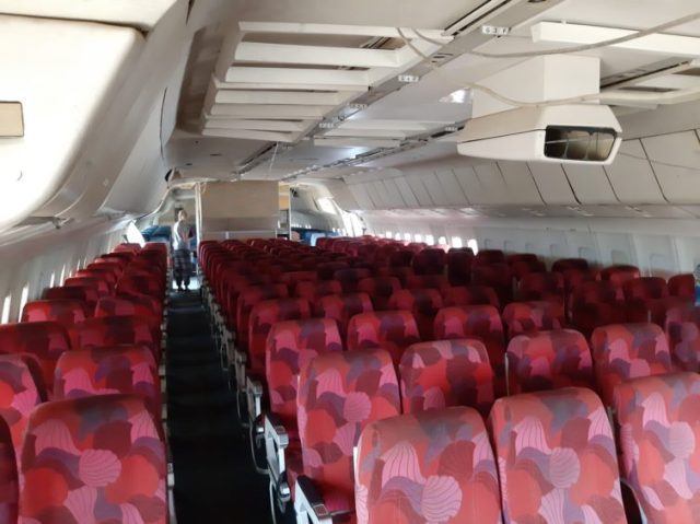 The L1011's economy interior is still in pretty good shape, although the projector is missing - Photo: Jerome de Vries
