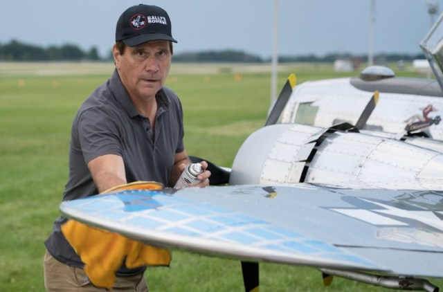 Larry Neu taking care of the Bally Bomber, built by the late Jack Bally.