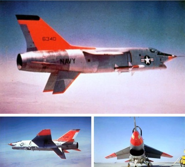 Vought XF8U-3 Crusader III single-engine supersonic fighter aircraft, a competitor for the US Navy's 1955 Match +2 fleet defense interceptor program, but eventually cancelled after the McDonnell Douglas F-4 Phantom II was
