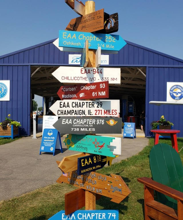 EAA Chapter signs on display at EAA AirVenture Oshkosh 2021