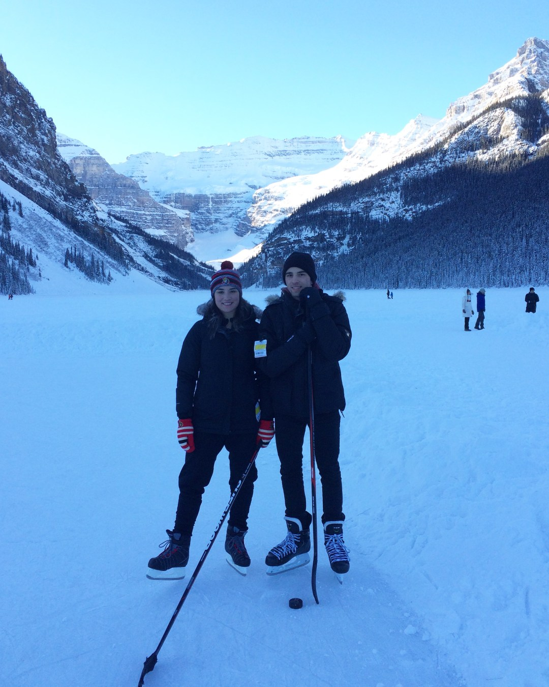 Sporting my Ottawa Senators on my toque and my mittens during some pond hockey  on Lake Louise