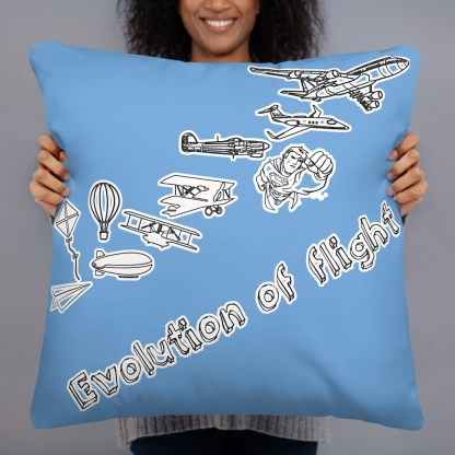 airplaneTees Evolution of flight Pillow - w/different images on each side. 5
