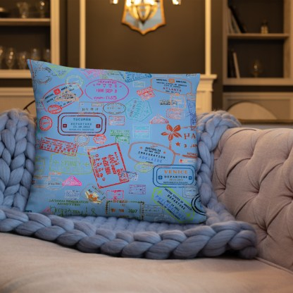 airplaneTees Going Places Pillow - Light Blue 1
