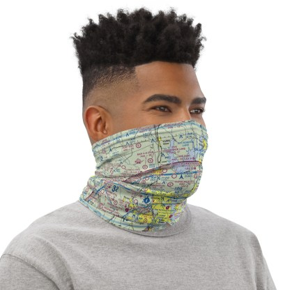 airplaneTees Dallas/Ft. Worth DFW VFR Sectional Face Mask/Face Covering/Neck Gaiter 2