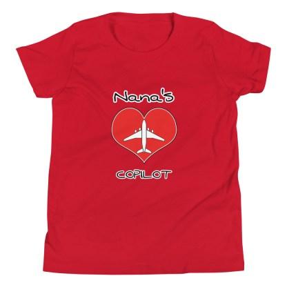 airplaneTees CUSTOM Nana's CoPilot, Grannies CoPilot, Papa's CoPilot Tee Youth Short Sleeve 12