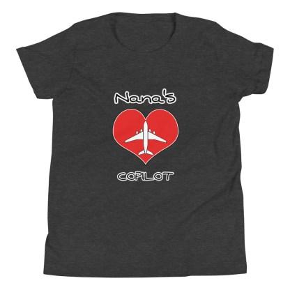 airplaneTees CUSTOM Nana's CoPilot, Grannies CoPilot, Papa's CoPilot Tee Youth Short Sleeve 1