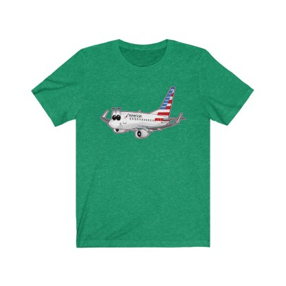 airplaneTees American Airlines Smiley 737 Tee... Unisex Jersey Short Sleeve 5