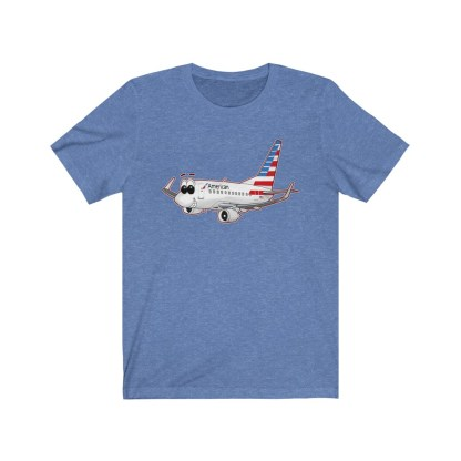 airplaneTees American Airlines Smiley 737 Tee... Unisex Jersey Short Sleeve 7