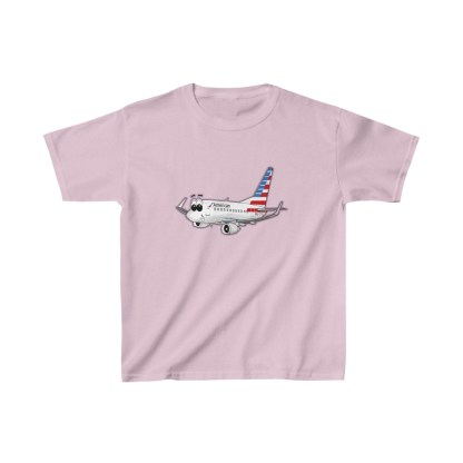 airplaneTees American Airlines Smiley 737 Youth Tee... Kids Heavy Cotton™ 1