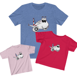 American Airlines Airbus A321 Smiley Tee Bundle