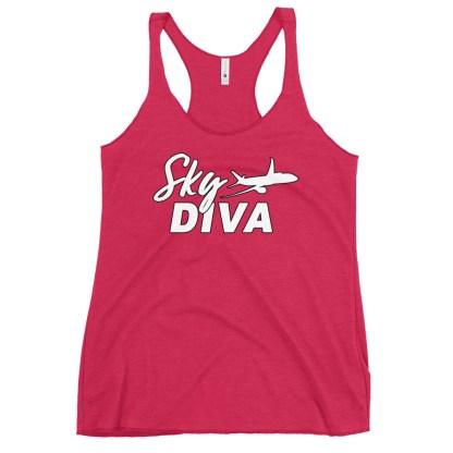 airplaneTees Sky Diva tank top... Women's Racerback white 16