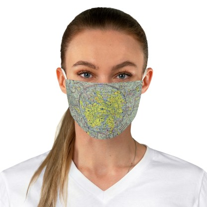airplaneTees Dallas/Ft. Worth DFW VFR Sectional Face Mask - Fabric 1