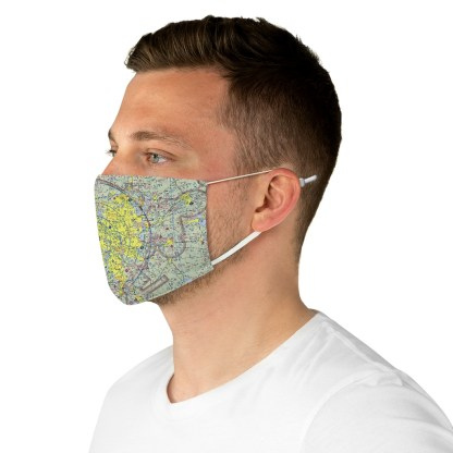 airplaneTees Dallas/Ft. Worth DFW VFR Sectional Face Mask - Fabric 5