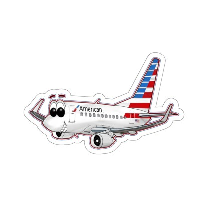 airplaneTees American Airlines 737 Smiles Kiss-Cut Sticker 5