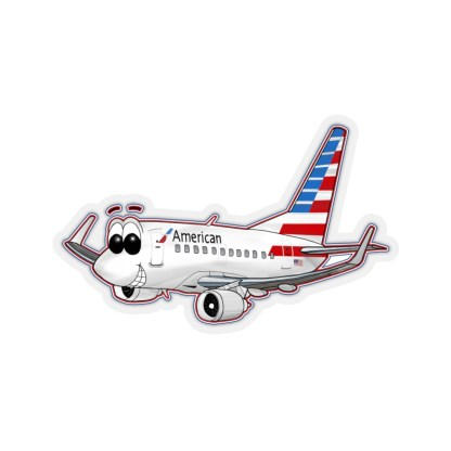 airplaneTees American Airlines 737 Smiles Kiss-Cut Sticker 1