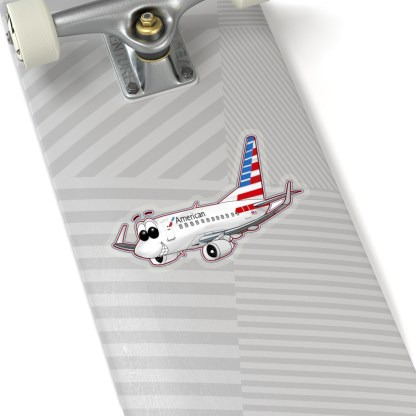 airplaneTees American Airlines 737 Smiles Kiss-Cut Sticker 2