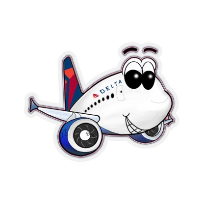 airplaneTees Delta Smiley Airbus Stickers - Kiss-Cut 1