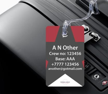 airplaneTees Republic Airline Logo Portrait Luggage Tag 2