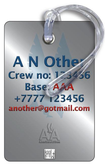 airplaneTees American Airlines OLD LOGO Luggage Tag - Portrait 5