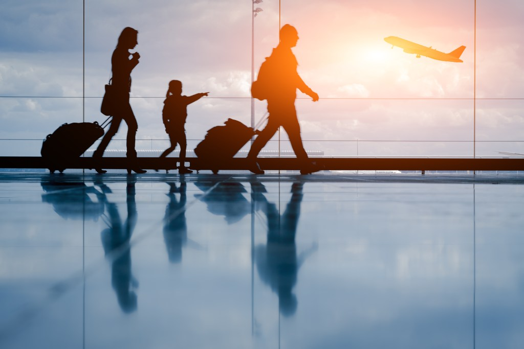 Family traveling through an airport