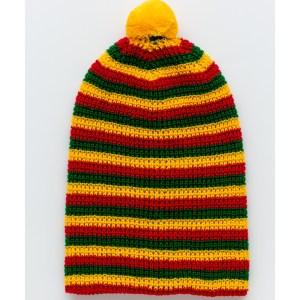 Megzta dryžuota TRISPALVĖ kepurė
