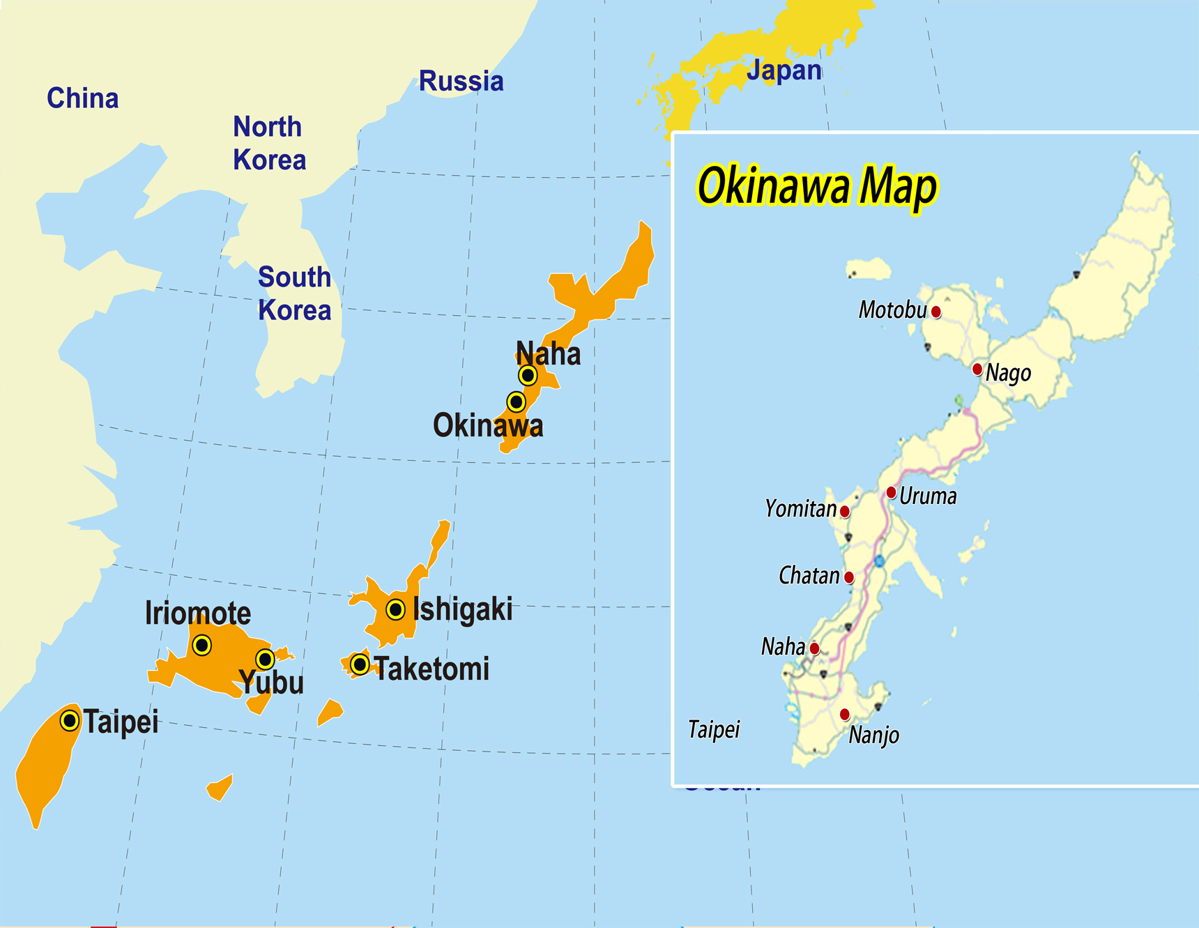 English Okinawa Map Japan